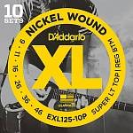 EXL125-10P Nickel Wound Струны для электрогитары, S Light Top/Regular Bottom 9-46, 10компл D'Addariо